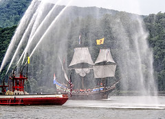 Half Moon's Watery Welcome (philhaber) Tags: newyork sailboat river boat ship replica sail hudsonriver tallship coldspring fireboat halfmoon henryhudson