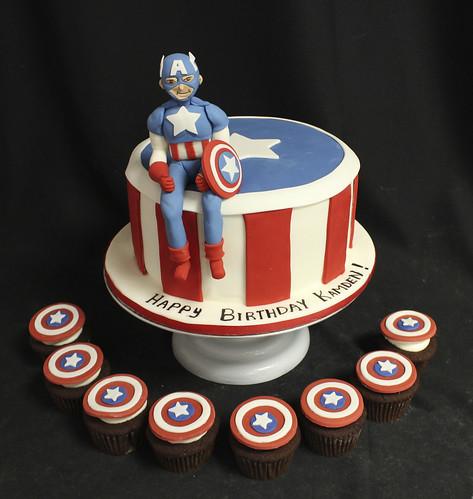 Captain America Cake & cupcakes