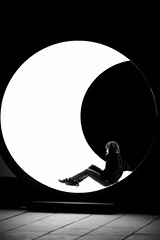 moonlight sonata (Wackelaugen) Tags: moon light art karolinahalatek terminal gerlingen germany person tube aufstiege lichtkunstfetival stuttgart canon eos photo photography wackelaugen googlies black white bw blackwhite blackandwhite mono