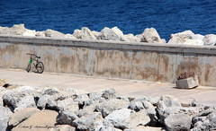 Planted (Areti Antonakopoulou) Tags: malta gozo port mgarr bike plant sea