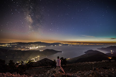 Enjoying the stunning view at the end of blue hour.Location;Kithaironas mountain,Greece. (Vagelis Pikoulas) Tags: canon 6d tokina 1628mm view landscape scenery scene niceshot night nightscape long exposure space stars star universe milky milkyway way sea seascape blue hour autumn october 2016 selfshot selfie man mountains mountain mount