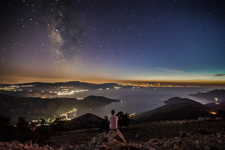 Enjoying the stunning view at the end of blue hour.Location;Kithaironas mountain,Greece.