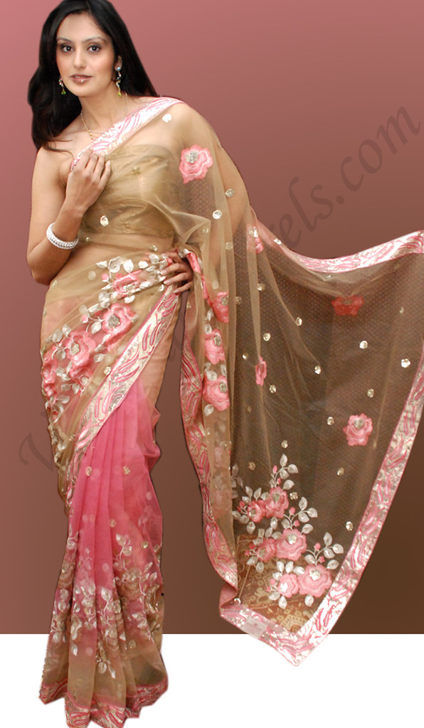 Maiden pink on olive Net Embroidered saree