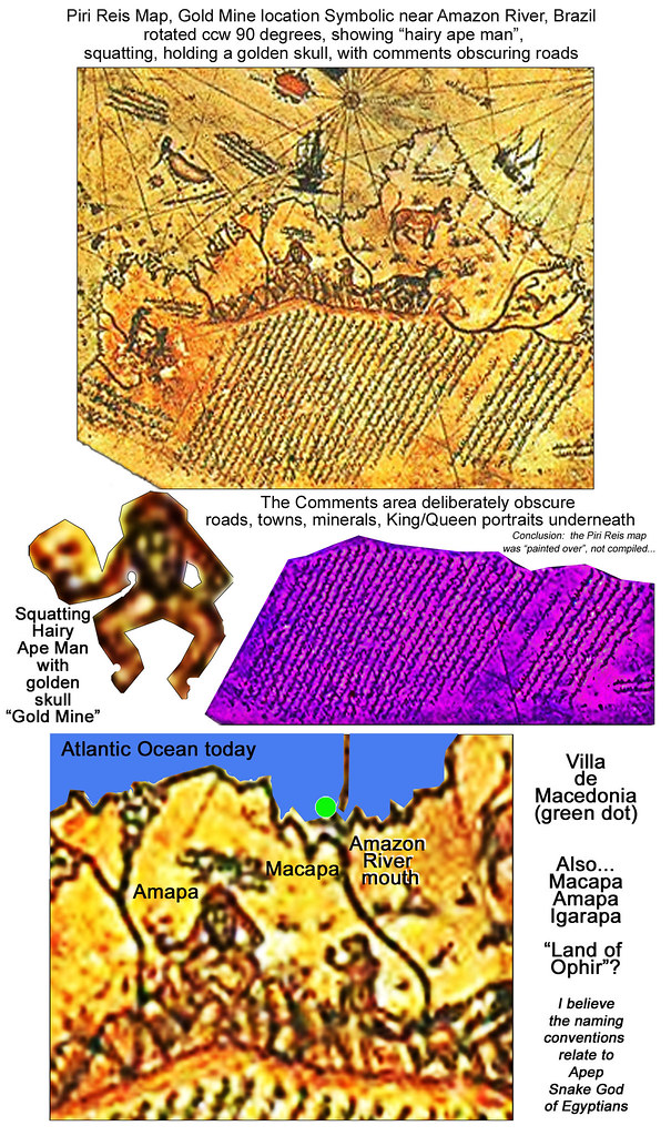 Piri Reis Map decipher... a Gold MIne near the Amazon is depicted as a