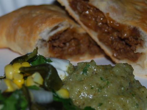 hommade faux meat pies and salsas
