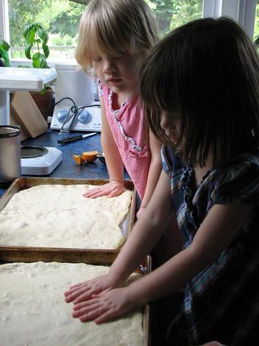 patting the dough...