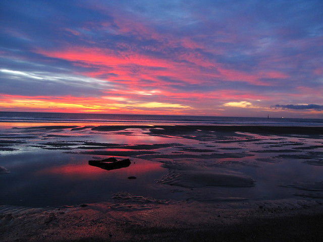 Seaton Carew beach before dawn.