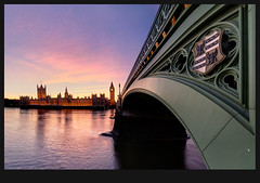 Westminster Bridge (CostaDinos) Tags: uk bridge houses sunset england london tower clock westminster abbey thames night clouds reflections river emblem lights big colorful warm ben dusk wide royal parliament bigben palace