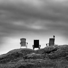 lookin' out on the morning rain, I used to feel so uninspired... (KJ Wipond) Tags: monochrome landscape nikon chairs crow —obramaestra— kjwipond wipond