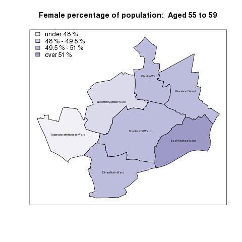 Female percentage of population:  Aged 55 to 59