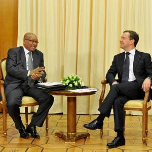 South African President Jacob Zuma and Russian President Dmitry Medvedev held talks on the Libya war in Moscow on July 4, 2011. Zuma said that Russia has accepted the African Union roadmap to end the war inside the North African state. by Pan-African News Wire File Photos