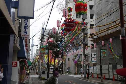 Entire street lined with Tanabata decoration