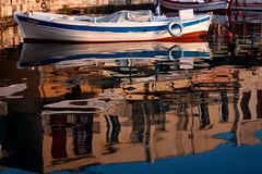 Morning reflection (Theophilos) Tags: morning reflection boat crete rethymno oldharbour κρήτη βάρκα πρωί αντανάκλαση ρέθυμνο παλιόλιμάνι