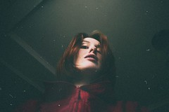 (Osyam-osyam) Tags: red portrait white color film girl face look rain hair view coat grain down redhead zipper vest