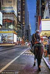 NYPD Mounted Police officer on patrol in Times Square (PhotosToArtByMike) Tags: nyc newyorkcity ny newyork night lights manhattan broadway timessquare neonlights theaterdistrict