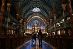 IMG_4583.jpg (mikepirnat) Tags: travel light people canada church architecture reflections cross montral quebec symmetry ceiling altar column pews notredamebasilica pycon pycon2014