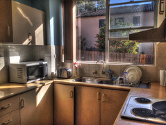 Kitchen (Michael Anthony Ralph) Tags: sunlight house home kitchen photoshop shadows apartment flat toaster sink sunny clean kettle stove dishes rent microwave benches ralph hdr fryingpan lease unit photomatixpro tonemapping cs5 hdrmix detailenhancer iphone5 extendedmichael
