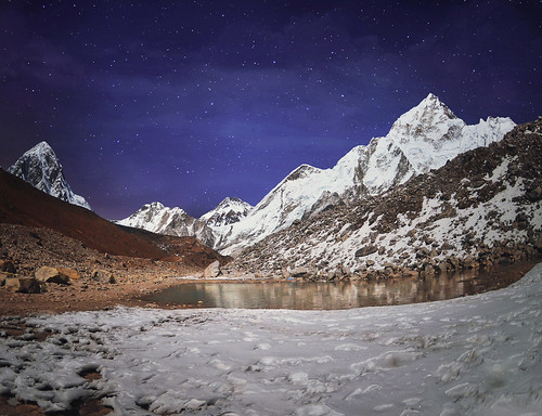 Himalaya mountain with stars in night time,near Gorak Shep village - Nepal, Himalayas