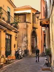 A Street in Sorrento (robin denton) Tags: sorrento italy campania italia oldtown townscape town urbanlandscape urban streetscene street cobbledstreet hdr oldman elderly walking