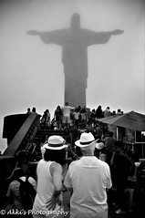 Christ the Redeemer (amohanlal) Tags: brazil christ christo could couple fog god jesus people rio riodejeniro