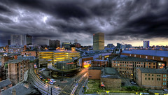 Manchester (mrcheeky2009) Tags: sunset manchester lowlight northwest dramatic wideangle hdr arndale sigma1020mm panpanorama