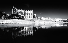 Contrast (Philipp Klinger Photography) Tags: park light shadow sea sky blackandwhite bw cloud mer white black church water architecture clouds reflections dark palms de photography mirror islands la mar photo blackwhite spain nikon meer mediterranean cathedral bright dom religion palm espana seu and sw mallorca