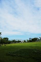 (Takanori Kishikawa) Tags: park sky cloud flower grass japan canon landscape tokyo monorail lalaport toyosu kotoku lalaporttoyosu
