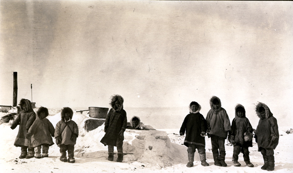 Eskimo children playing in the snow at 50 degrees below zero. Penn Museum image 11328.