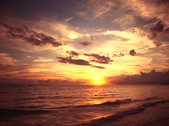 The moments we cherish.. (.Andi.) Tags: ocean blue light sunset vacation sky orange sunlight color reflection beach nature water beauty clouds waves peaceful bliss