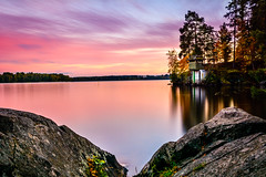 Pink (mihail.suontaus) Tags: finland lightroom nikon sigma tampere autumn clouds colors joselininniemi landscape mirror nature red rock sunset tree water