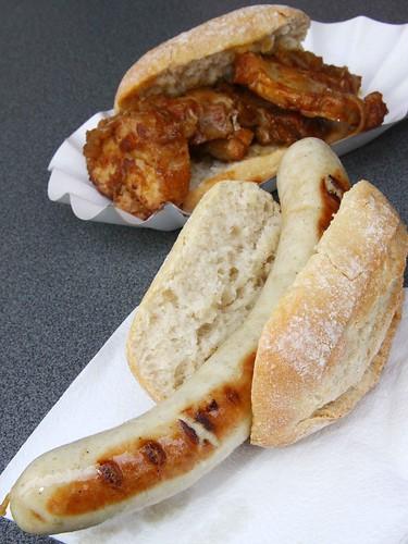 Bratwurst and Pork Sandwich