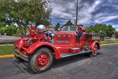 Fire Truck Parade and Muster (Thad Roan - Bridgepix) Tags: red truck ball fire photo colorado meetup image picture engine denver parade chrome fireman ladder hook muster hdr facebook littleton ahrens pumper 2011 201106