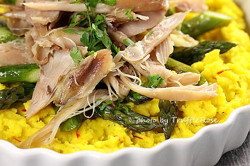 油封雞、馬鈴薯泥和蘆筍沙拉-110629