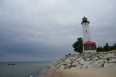 Crisp Point Light (West of Paradise, Michigan) (cseeman) Tags: lighthouse beach water paradise michigan lakes greatlakes shore remote upperpeninsula lakesuperior michiganlighthouses crisppoint crisppointlighthouse crisppointlight norternmichigan lighthousesoflakesuperior