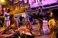 Koh San road, Bangkok, Thailand (Igor Bilic) Tags: life ladies tourism night thailand foot bangkok tourist massage thai area economy ladyboy baht backpackers khaosanroad farang masseur