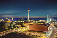 Berlin Blue Hour # Explore # (Marcus Klepper - Berliner1017) Tags: street city sunset sky berlin night lights abend europe heaven clear explore bluehour hdr blaue stunde