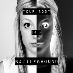 your body is a battleground (Photography-MS) Tags: light portrait blackandwhite white selfportrait black girl face closeup hair eyes perfect darkness body text blonde half lighter inverted inspire tone insecure barbarakruger battleground imperfect worries maysimpson impactlabel