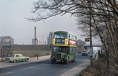 LC RT4506 on Route 300 nr. the West Thurrock works. 1972. (David Christie 14) Tags: bus lc westthurrock