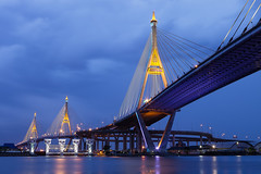 Bhumibol Bridge, Bangkok, Thailand (Nobythai) Tags: old bridge red river thailand asia images       flickrtags    flickrawards  earthasia totallythailand