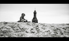Sand Castles... So outmoded ;) (Sylvain_Latouche) Tags: blackandwhite beach sand sandcastle bercksurmer alix cloudyday 70200mmf28 nikond800 sylvainlatouche