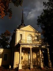 .   . Znamenskaya Church (Tsarskoye Selo). (presteza777) Tags:      stpeterburg pushkin autumn automne autunno russia  architecture church   clouds nuabes nubes nuvole sky