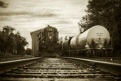 Brian_End Of The Line 1201_1_LG Sepia_091816_2D (starg82343) Tags: 2d brianwallace tracks railroad railroadtracks steel rails steelrails train engine ties massey md maryland rural mdde maintenancedepot shed maintenanceshed traincars trees rr monotone sepia