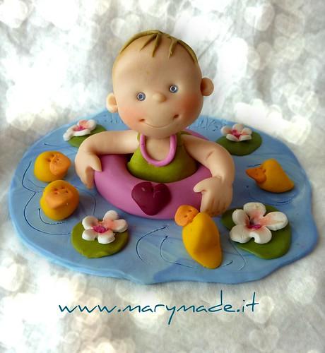 Cake Topper Personalizzato per Battesimo di una bambina con salvagente