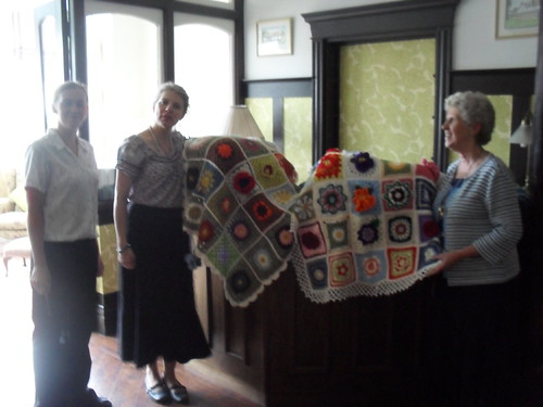 The Staff at St. Bernards Residential Care Home welcome our 'Sunshine Blankets'.