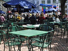 Green Table (AntyDiluvian) Tags: green boston table restaurant chairs massachusetts patio sidewalk seafood marketplace haymarket quincymarket faneuilhall northend bostonist mccormickandschmick