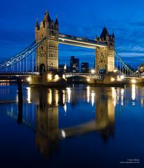 Tower Bridge, in reflection (cybertect) Tags: bridge blue reflection building london architecture towerbridge river dawn explore riverthames se1 cityoflondon londonse1 panasonicg2 panasoniclumixgvario1442mmf3556megaois