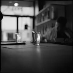 (Ansel Olson) Tags: light shadow white black 120 6x6 mamiya tlr film water glass bar mediumformat delta 3200 ilford carytown c330 c330s autaut mamiyasekor80mmf28 seccowinebar