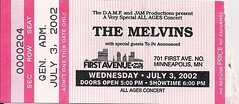 07/03/02 The Melvins/Jucifer @ First Avenue, Minneapolis, MN (Ticket)