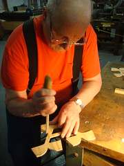 Norb filing down irregularities in my scrollsaw-cut letter. (Nick Sherman) Tags: museum pattern hamilton printing wi template woodtype tworivers brylski norbbrylski