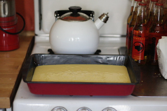 yellow cake in progress